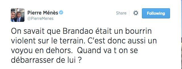 """Pierre Ménès dézingue """"le bourrin Brandao"""" sur Twitter - http://www.actusports.fr/115908/pierre-menes-dezingue-bourrin-brandao-twitter/"""