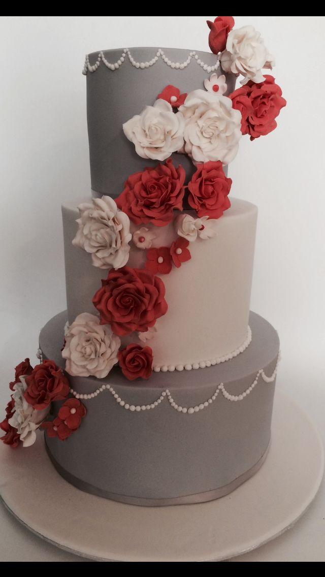 #Coral and gray wedding cake  #cakealicious #weddingcake