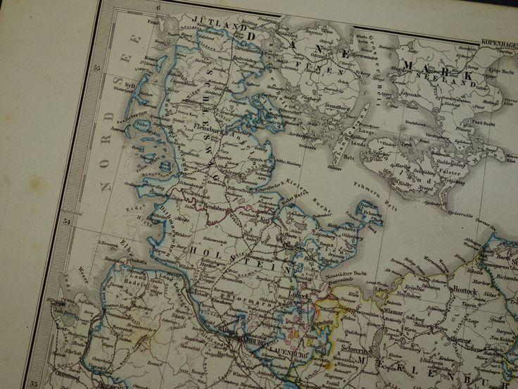 "Antique map of Germany - original 1872 print vintage poster Hannover Brandenburg  alte karte landkarte von Deutschland Berlin Pommern 15x18"" by DecorativePrints on Etsy"