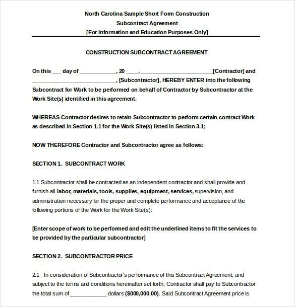 33 Free Subcontractor Agreement Template Contract Template Subcontractors Construction Contract