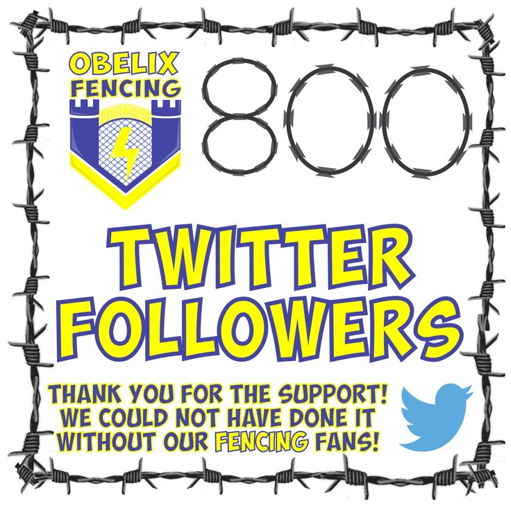 800 Fantastic Fencing Followers! Whoop Whoop! 2017 is starting with a bang! Bigger and better every day! :) Thank you for your ongoing support! You have no idea how much it is appreciated! If you are not already following us on Twitter please feel free to come and say hi @ObelixF Or for all of your fencing needs please email us at eugene@obelixfencing.co.za #humbledbyyoursupport #thankyou