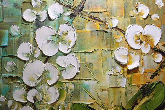 Originale darte contemporanea - bianco orchidea in vaso moderno impasto spatola acrilico e olio su tela - pesanti martellata fiori bianchi su blu e marrone. Per vedere i primi piani cliccate su sopra immagini.  Questo elenco è per un CUSTOM Made in ordine originale dipinto di uno venduto in precedenza, visto nelle immagini qui sopra. La pittura sarà la stessa dimensione e composizione/colori simili.  Descrizione dellopera darte: pittura astratta floreale  Dimensioni: 24 x 24 x 1.5  Gallery…
