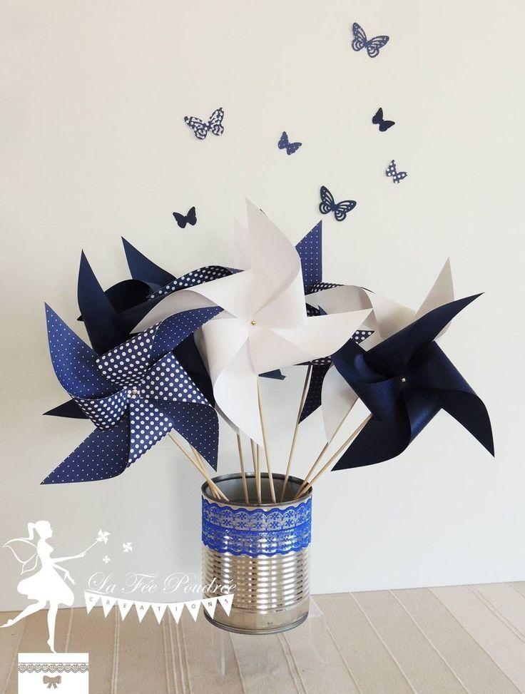 Lot de 10 Moulins à vent couleur bleu marine et blanc 15cm : Décoration pour enfants par deco-la-fee-poudree