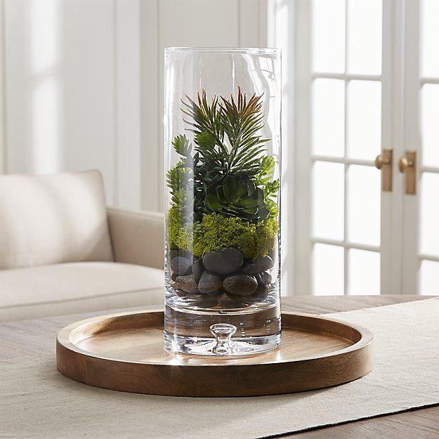 Artificial Echeveria Green Succulent Stem Reviews Crate And Barrel In 2020 Glass Vase Decor Large Glass Vase Vases Decor