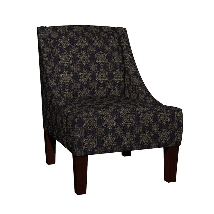 Venda Sloped Arm Chair featuring Metatron's Cube Black & Gold by maverickcreatrix   Roostery Home Decor