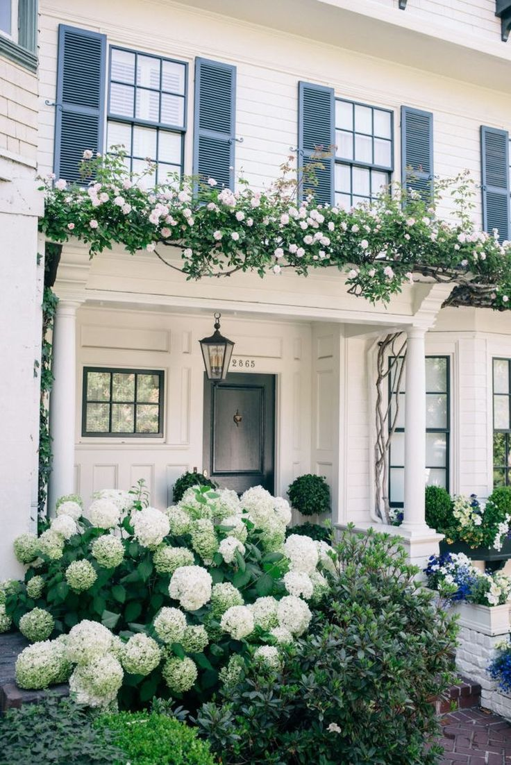 I really liking the black framed windows, blue shutters, and exterior paint