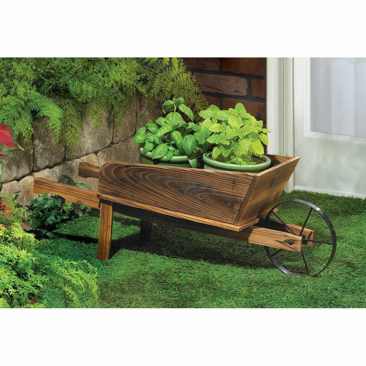 Superb Plants Country Flower Cart Planter Wheelbarrow Plant Garden Yard Country  Wood
