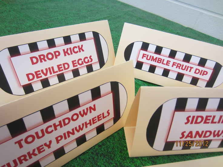 More Food Tent Table Signs For Sports Themed Baby Shower