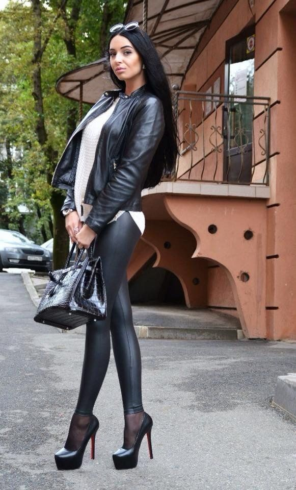 Leather jacket and leggings