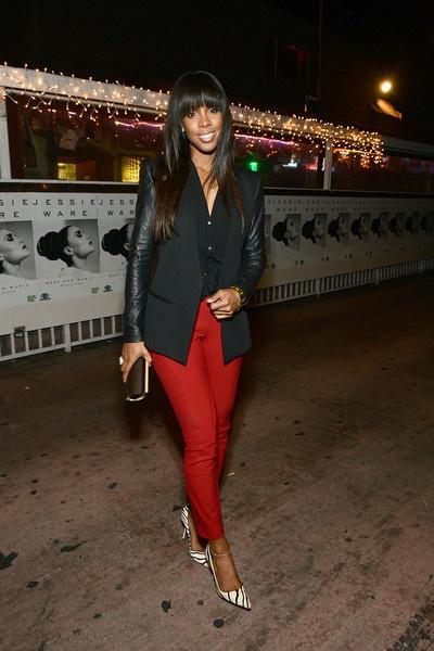 Casual Work Black Leather Sleeve Blazer Black Blouse Red Pants Heels