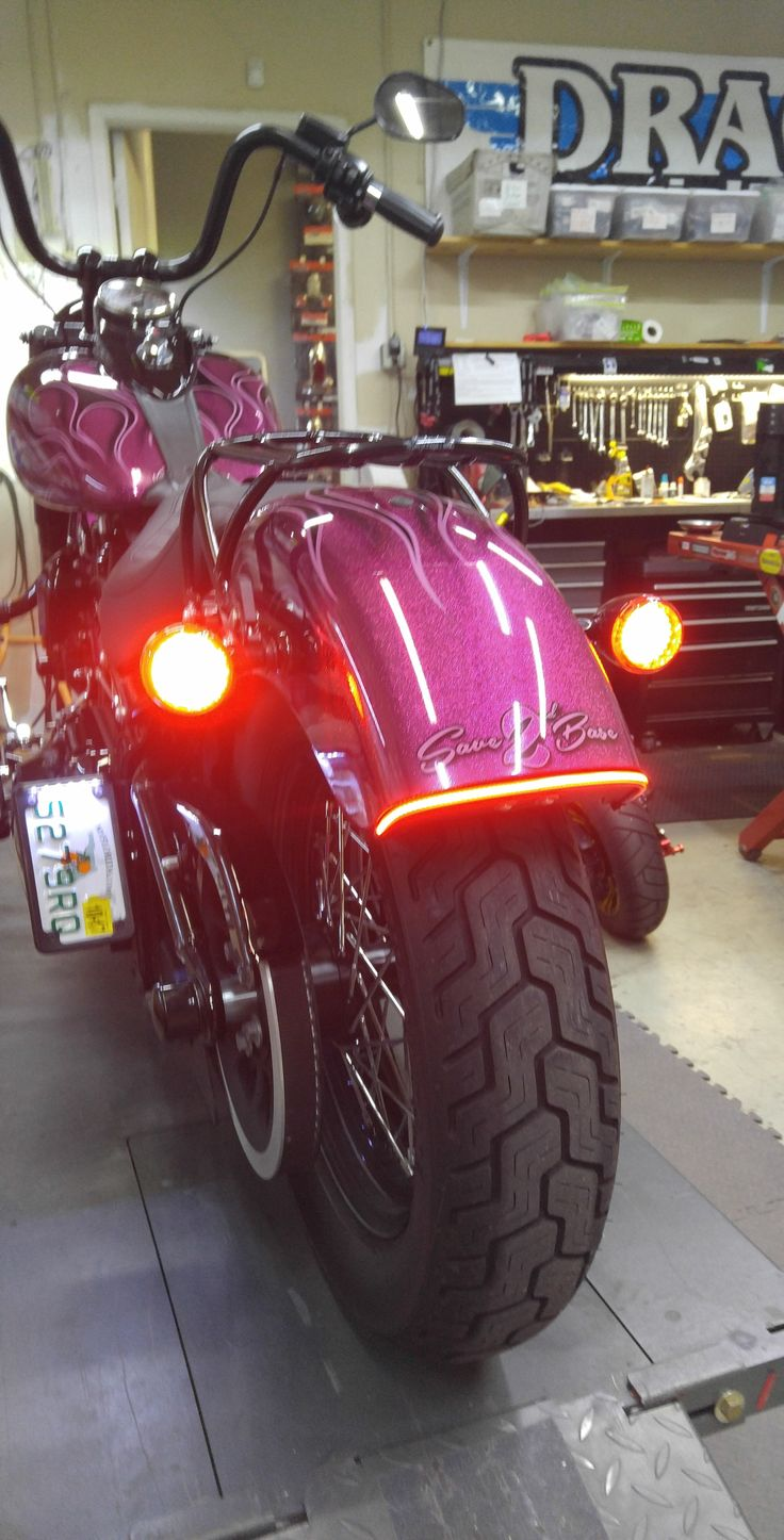 Rear LED Upgrade-2016 Softail Slim Installed a pair of Red 1157 Bullet Style LED Turn Signal Clusters. Along with a Run-Brake-Turn LED Fender Light Bar kit.  chromeglow.com for all your LED Motorcycle Lighting and Accessories! #softailslim #rearledupgrade #canyouseemenow #shopwork #chromeglow