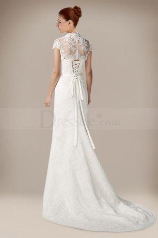 Perfect Splendid Wedding Dress with Demure Queen Anne Jacket Quality Unique Wedding Dresses