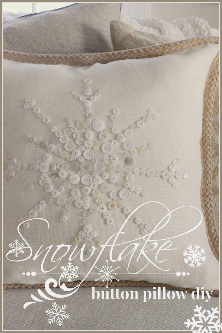 NO- SEW SNOWFLAKE BUTTON PILLOW Pillows, Craft and Button button