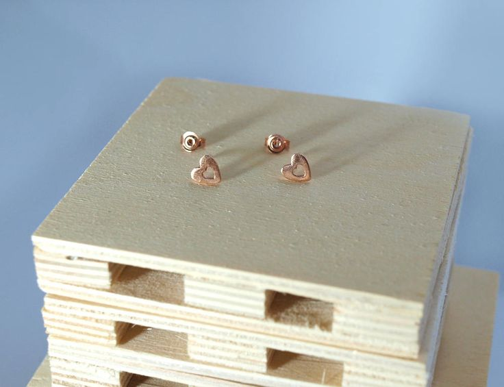 Gold Hearts,Stud Earrings,Perforated Hearts,Sterling Silver 925,Silver Hearts,Gold-Plated Hearts,Rose Gold,Black Patina,Earrings,Hearts by Fragkiski on Etsy