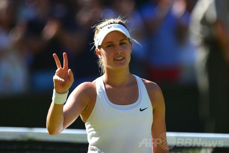 テニス、ウィンブルドン選手権(The Championships Wimbledon 2014)女子シングルス準決勝。勝利を喜ぶユージェニー・ブシャール(Eugenie Bouchard、2014年7月3日撮影)。(c)AFP/CARL COURT ▼4Jul2014AFP|ブシャールがカナダの期待背負い決勝へ、ウィンブルドン選手権 http://www.afpbb.com/articles/-/3019588 #The_Championships_Wimbledon_2014 #Eugenie_Bouchard