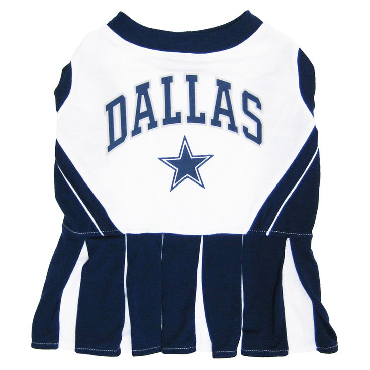 Collar Planet - Dallas Cowboys NFL Licensed Pet Dog Cheerleader Dress Outfit (http://www.collarplanetonline.com/dallas-cowboys-nfl-licensed-pet-dog-cheerleader-dress-outfit/) Show support for your favorite team the Cowboys with this adorable cheerleading uniform which features a screened-on city name and logo.