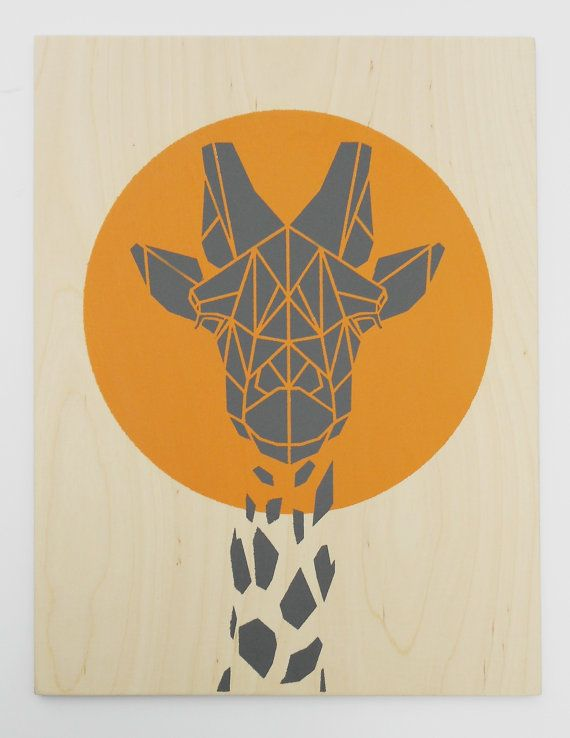 Cute Giraffe on Plywood, Original Art, Stencil Art, Geometric, Origami Giraffe, on Etsy, $84.77 CAD