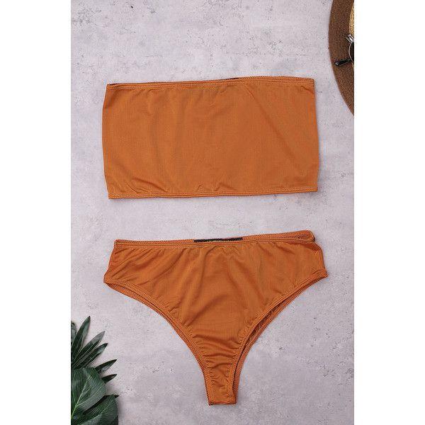 Yoins Casual Sleeveless Tube Top Bikini Set In Orange ($12) ❤ liked on Polyvore featuring swimwear, bikinis, orange, high-waisted bikinis, high waisted swim wear, boy-short bikinis, sexy swimwear and high waisted bikini swimwear