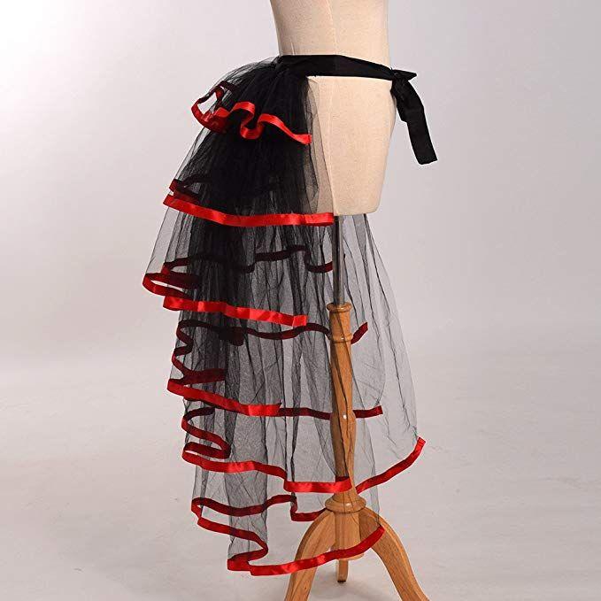 Red GRACEART Victorian Steampunk Tie-on Bustle Skirt Tutu Belt Lace Underskirt