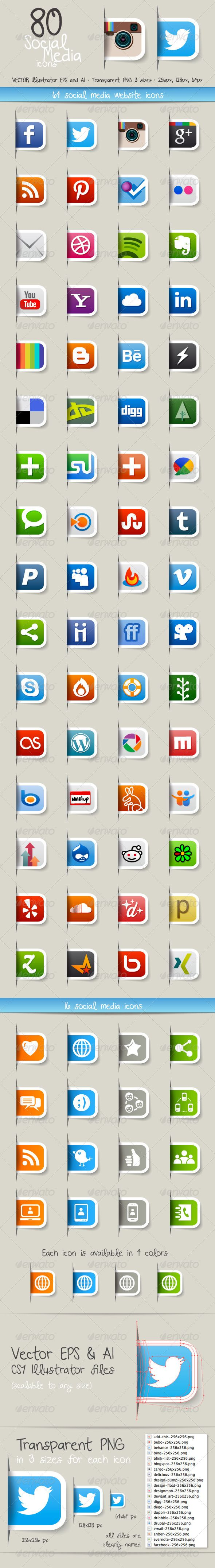 80 Social Media Icons - GraphicRiver Item for Sale