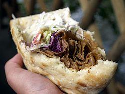 Shawarma in a pita.