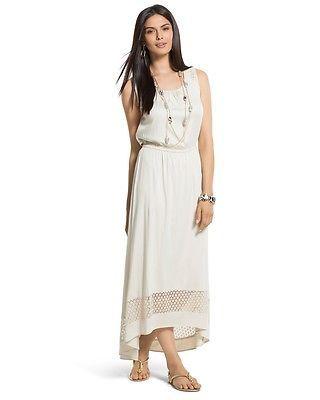 Chico's New Cement Lace Detail Ariel High-Low Maxi Dress Women's
