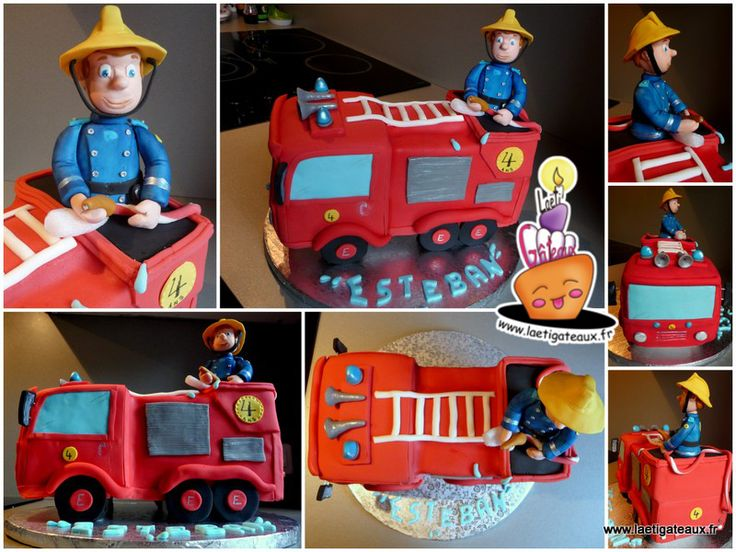 Image gateau camion pompier