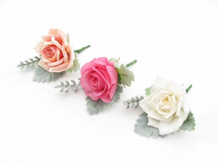 Rose, santolina and dusty miller buttonholes by https://www.loveflowers.com.au