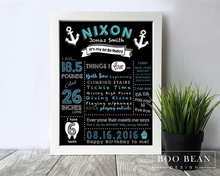 Nautical First Birthday Chalkboard | Chalkboard Sign | Personalized Poster | Printable | Birthday Chalkboard Sign | Boys Chalkboard sign by BooBeanDesign on Etsy