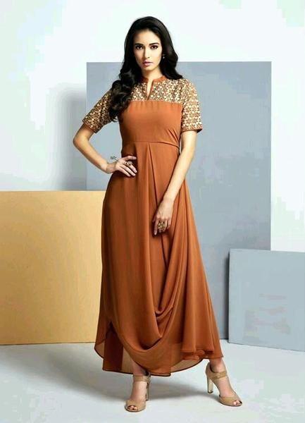Designer Chocolate Brown Colored Kurtis Kurtas Gown Style Georgette Kurti #kurtis&kurtas #designer kurtis available at ladyindia.com