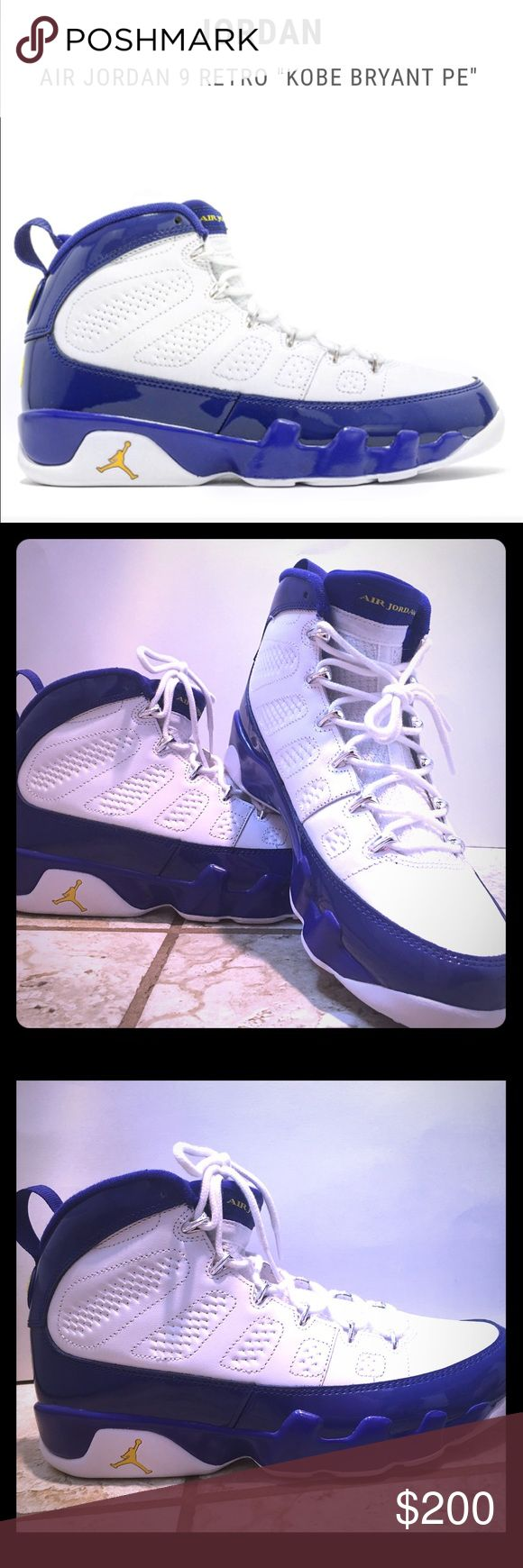 """Air Jordan 9 Retro """"Kobe Bryant PE"""" size 10.5 302370121 white tour yellow concord 2016 sold out Flight club on line only these are in pristine shape /shoes only / Retro 9 Retail $250 for this size get em here ✅🎉🛍📦Selling for my son /No trades on this item/No Lowball offers Jordan Shoes"""