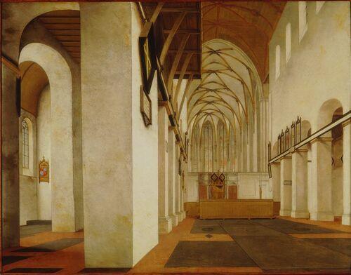 Pieter Jansz. Saenredam Interieur van de Sint Janskerk te Utrecht circa 1650 Oude kunst Het schilderij toont een aanzicht op het romaanse schip van de Sint Janskerk te Utrecht. Daarin zijn de pijlers nog niet om en om gesloopt, wat in 1658 gebeurde. Links is de Antoniuskapel met het wapen van haar stichter Dirk van Wassenaar te zien. De tekening die Saenredam ter plaatse maakte, is 15 september 1636 gedateerd en bevindt zich in de Kunsthalle te Hamburg.