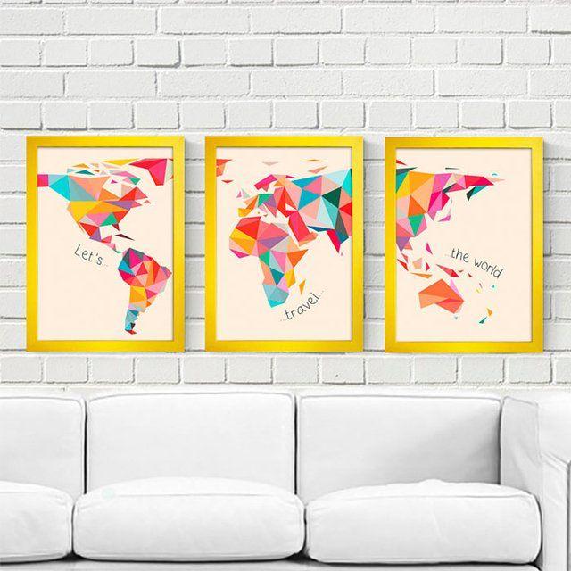 Kit Let's Travel the World. Posters, quadros e canecas incríveis para a decoração de sua casa.
