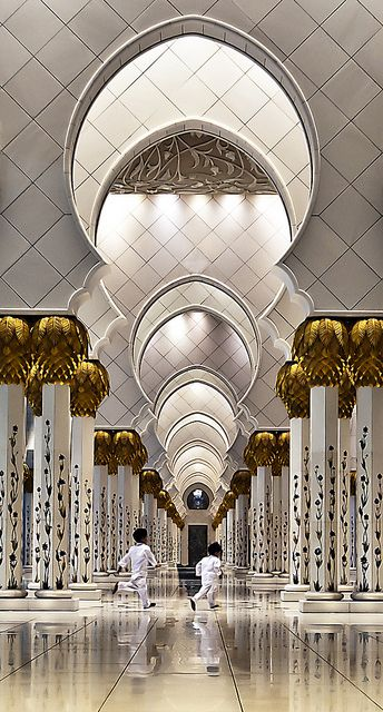 Sheikh Zayed Grand Mosque, Abu Dhabi - we had to wear full Abayas when we visited here. It was so beautiful, but so strange also.