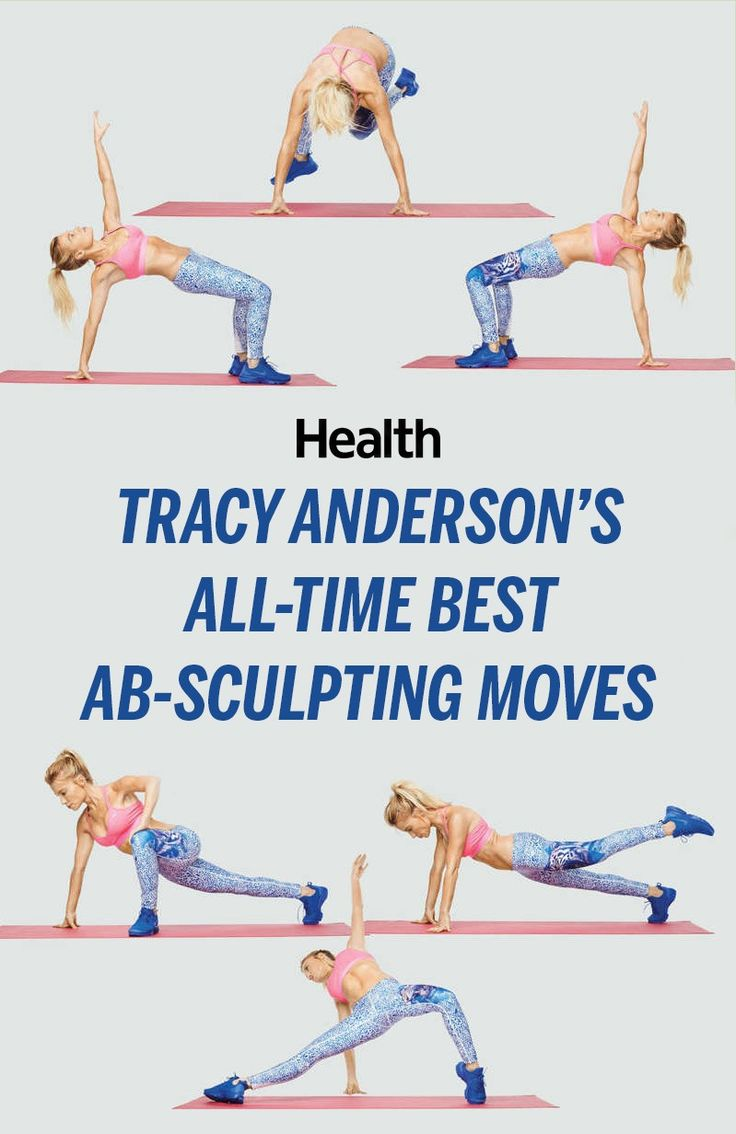"""Performing ab-centric moves is also key, says star trainer Tracy Anderson. But you've got to hit the muscles from every angle. """"It's not just about the front of the abs, the rectus abdominis,"""" she explains. """"You have to also get the obliques, the transverse abdominis—which acts as a girdle—and the lower back muscles working together."""" 