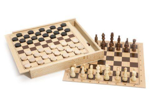 Jeujura – 8133 – Jeu de Société – Jeux de Dames et d'échecs – Coffret en Bois: Jeu de Dames et d'Echecs en Bois Pièces en Bois Coffret en…