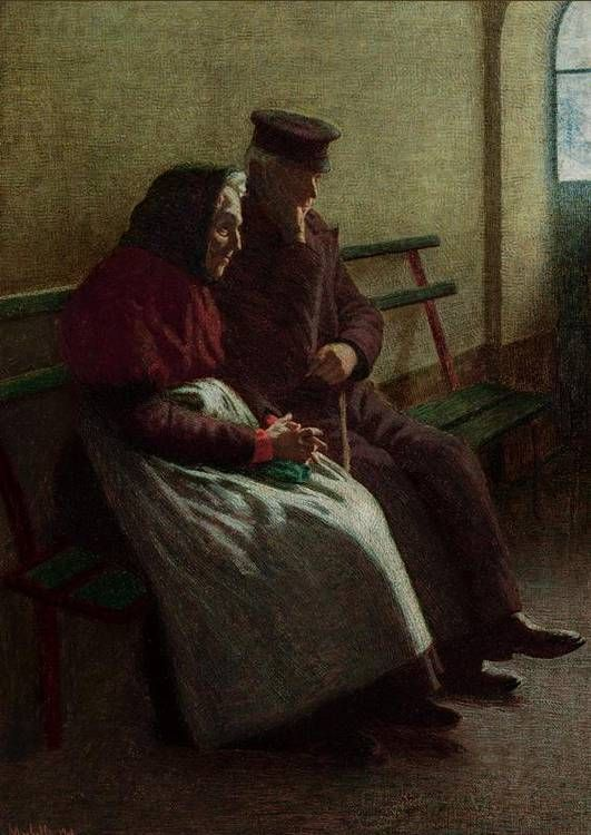Morbelli, Angelo, (1853-1919), Old Couple, 1908, Oil