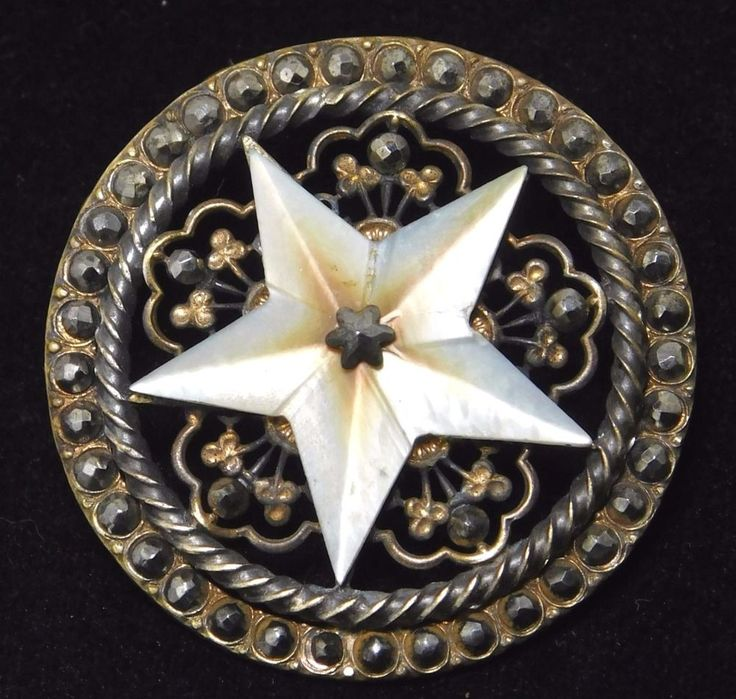 LARGE ANTIQUE BUTTON CARVED PEARL STAR FACETED STEELS OPEN WORK BRASS #1716
