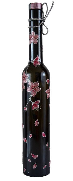 Hand painted bottle - Cherry blossom