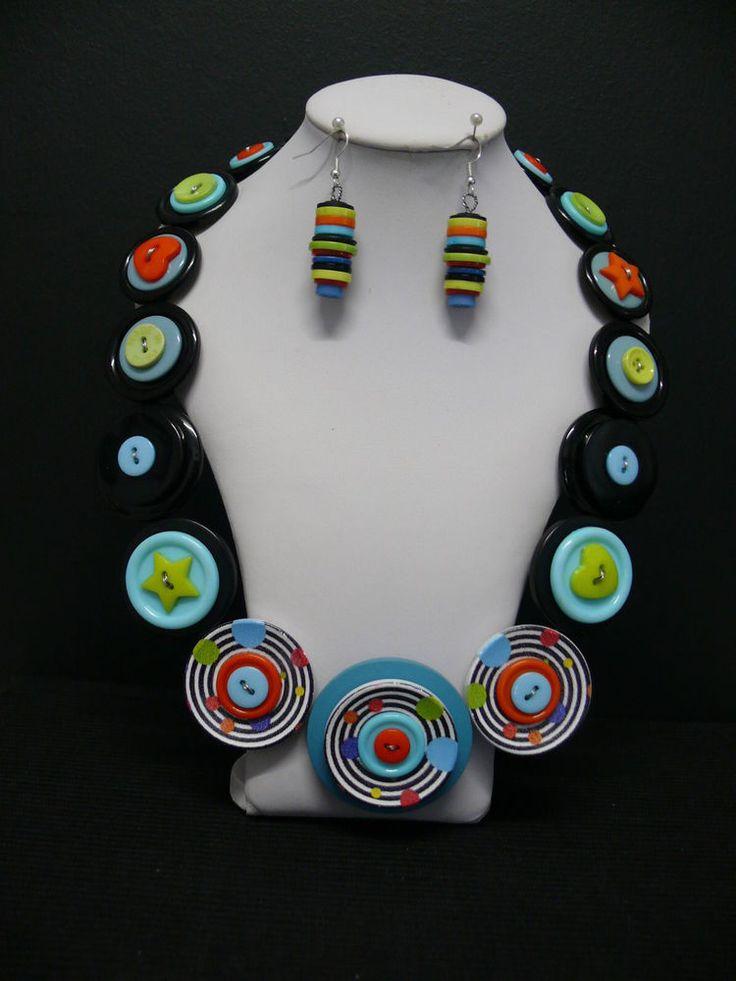 Spots & Circles- Ladies Button Necklace & Earring Set