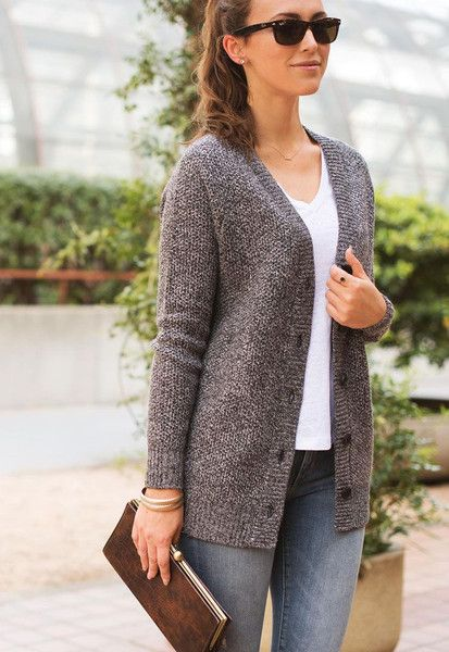 "Our women's cardigan sweater: 40% merino wool, 30% cashmere, 30% poly, and 8"" deep pockets for even the biggest of iPhones. It's a classic."