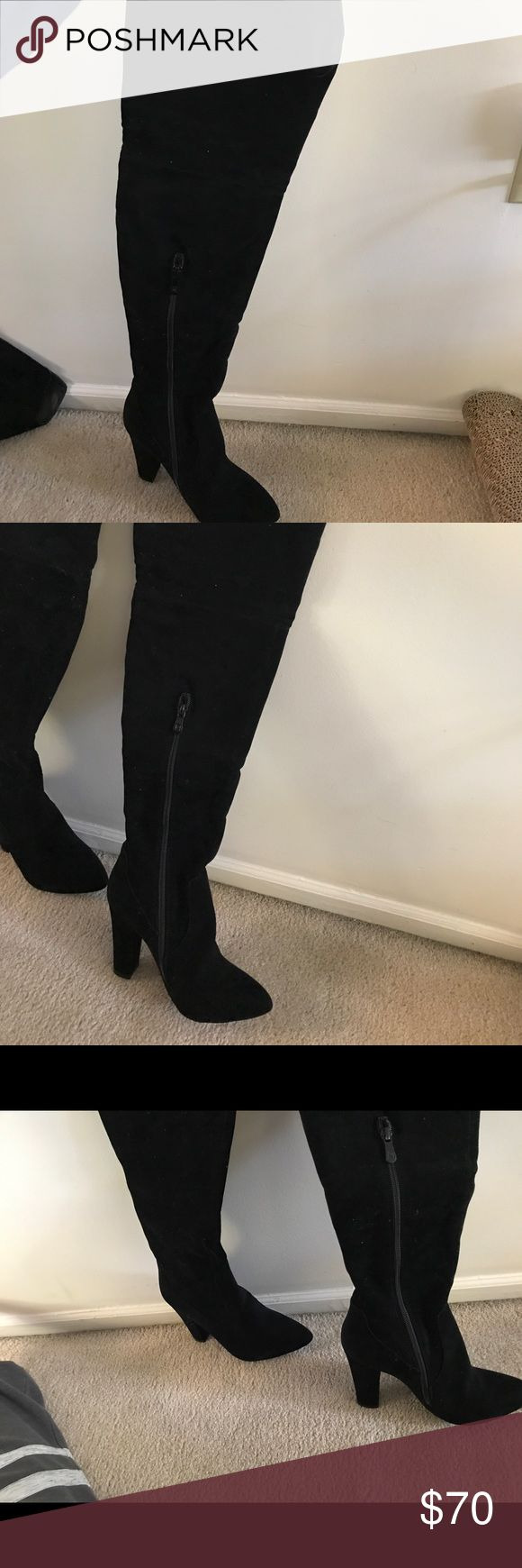 Thigh High Suede Boots Thigh High Boots Black Suede US SIZE 5 UK SIZE 3 Public Desire Shoes Over the Knee Boots