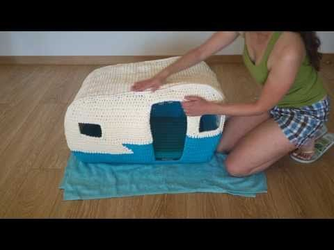 On the Road House - Crochet cat bed with t-shirt yarn - YouTube