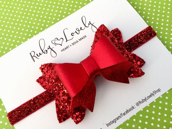 Red Glitter Bow Red Christmas Headband Baby Red by RubyLovelyShop