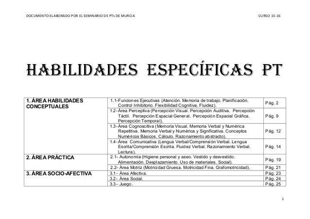 DOCUMENTO ELABORADO POR EL SEMINARIO DE PTs DE MURCIA CURSO 15-16 HABILIDADES ESPECÍFICAS PT 1. ÁREA HABILIDADES CONCEPTUA...