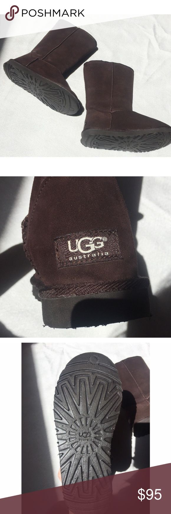*BARELY WORN* Dark Brown Tall Ugg Boots These are dark brown authentic UGG boots. I have only worn them once and it wasn't in the snow. They are 12 inches from the very top to the very bottom. They are in amazing condition, the only problem area is a small opening which doesn't make a difference while it is worn that is pictured in the last photo. :) UGG Shoes Winter & Rain Boots