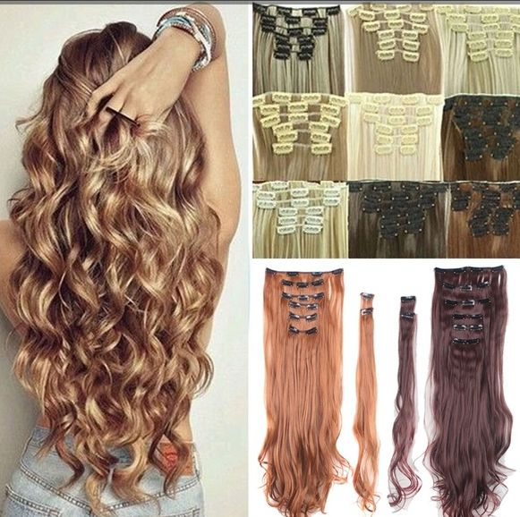 """Real Thick 24""""(61cm) Long Curl Wave Full Head Hair Clip in Hair Extensions"""