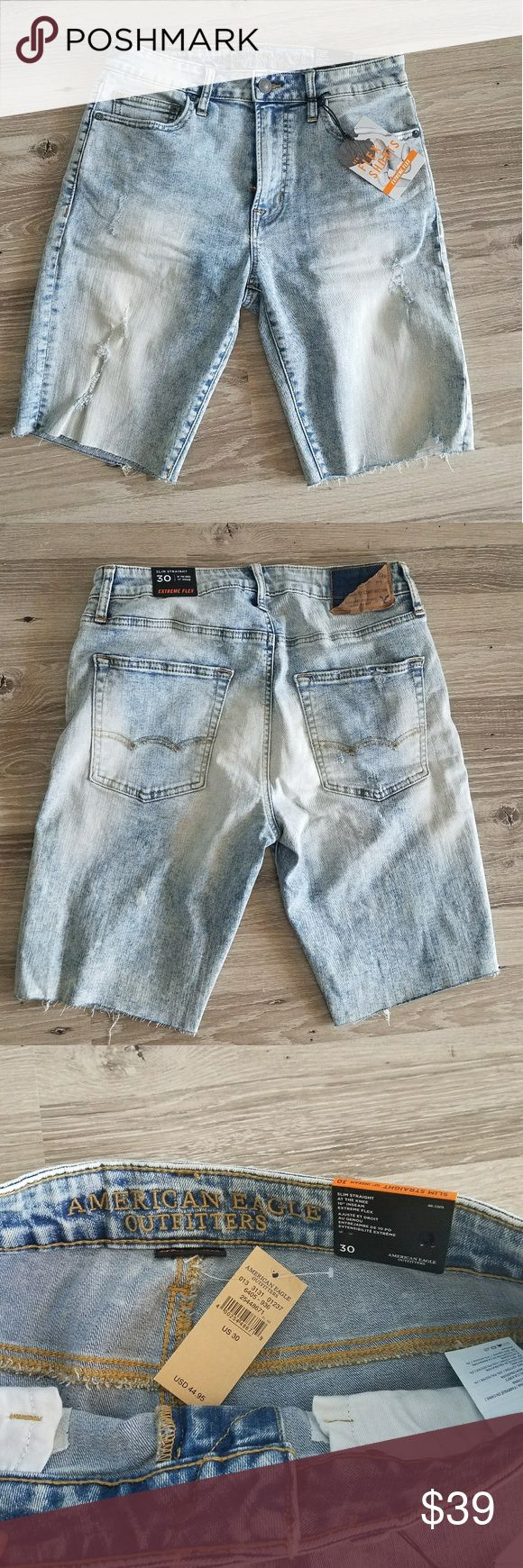 """American Eagle MEN's denim slim straight shorts Brand New from American Eagle store, unfortunately my husband didn't not like the fit and now it's too late to return. All TAGS still on!  Distressed light wash jeans!  Size 30 waist slim straight 10"""" inseam at the knees. American Eagle Outfitters Shorts Jean Shorts"""
