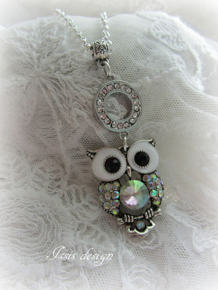 handgjorda smycken, halsband, uggla, strass, bling