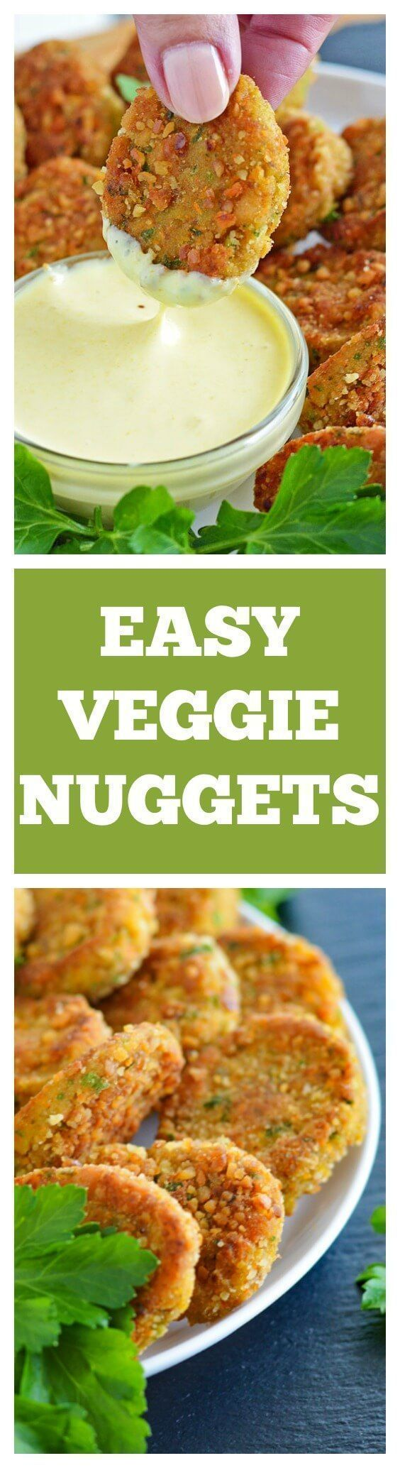 Veggie Nuggets with VEGAN Honey Mustard Dipping Sauce